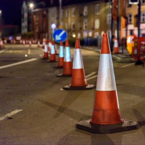 J1TDPE UK Road Services Roadworks Cones and Signs.